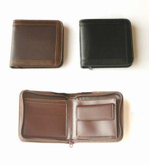 画像1: 本革額縁札入れ付ファスナー二つ折りバース 全2色